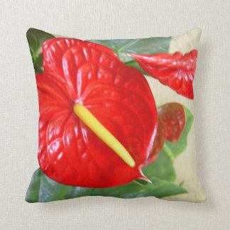 Hawaiian Style Anthurium Throw Pillow Cushion