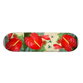 Hawaiian Style Anthurium with Honu Trio Skateboard