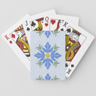 Hawaiian Style Flower Quilt Blue Playing Cards