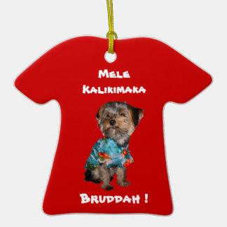 Hawaiian Style Holiday Yorkie T-Shirt Ornament