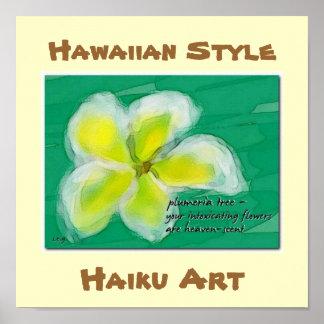 Hawaiian Style Plumeria Haiku Art Poster