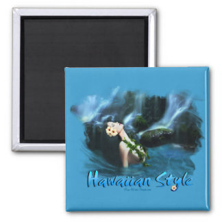 Hawaiian Style Square Magnet