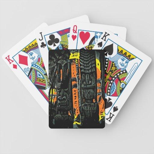 Hawaiian style tiki statue colorful playing cards