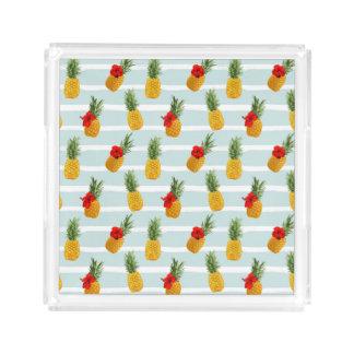 Hawaiian Summer Pineapple Seamless Pattern Acrylic Tray