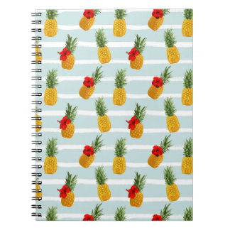 Hawaiian Summer Pineapple Seamless Pattern Notebook