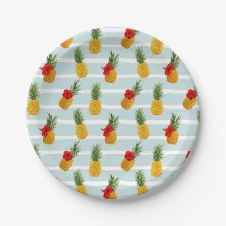 Hawaiian Summer Pineapple Seamless Pattern Paper Plate