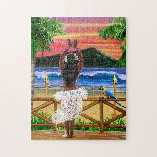 Hawaiian Sunset Hula Dancer Jigsaw Puzzle