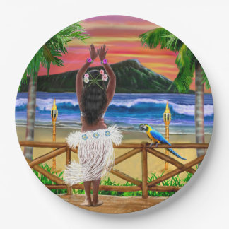 Hawaiian Sunset Hula Dancer Paper Plate