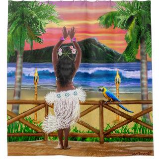 Hawaiian Sunset Hula Dancer Shower Curtain