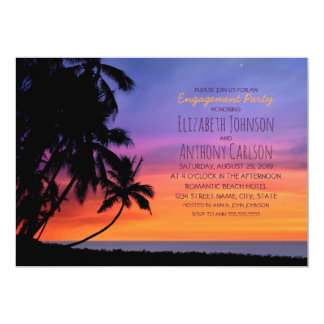 Hawaiian Sunset Palm Tree Beach Engagement Party Card