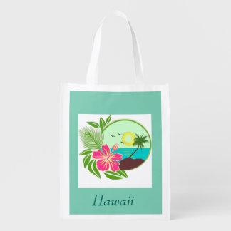 Hawaiian Sunset Palm Tree Reuseable Grocery Bag