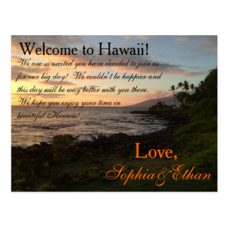 Hawaiian Sunset Wedding Welcome Bag Note Postcard