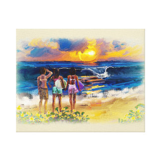 Hawaiian Surf Girls Stretched Canvas Prints