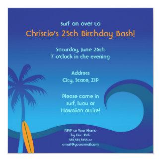 Hawaiian Surf Party Invitation