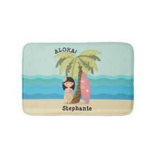 Hawaiian Surfer Girl Bath Mat
