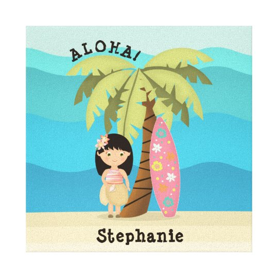 Hawaiian Surfer Girl Canvas Print