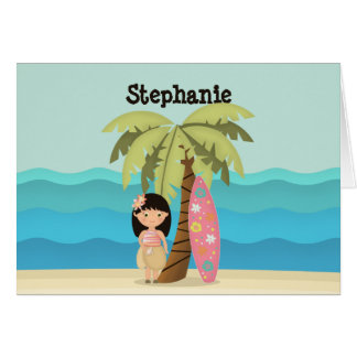 Hawaiian Surfer Girl Card