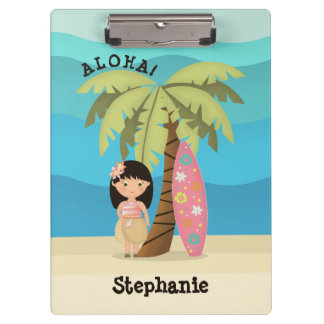Hawaiian Surfer Girl Clipboard