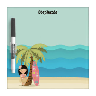 Hawaiian Surfer Girl Dry Erase Board
