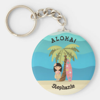 Hawaiian Surfer Girl Key Ring