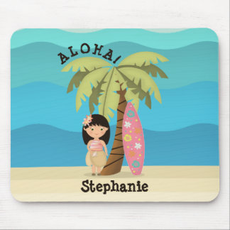 Hawaiian Surfer Girl Mouse Pad