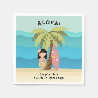 Hawaiian Surfer Girl Paper Napkin