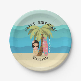 Hawaiian Surfer Girl Paper Plate