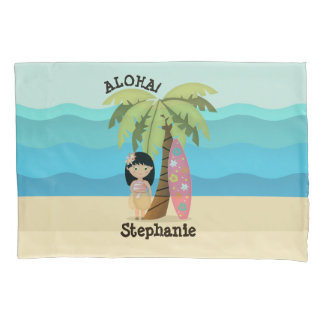 Hawaiian Surfer Girl Pillowcase