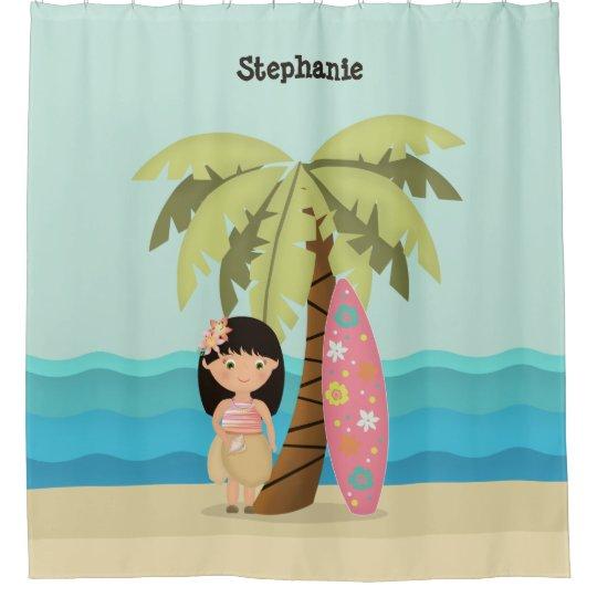 Hawaiian Surfer Girl Shower Curtain