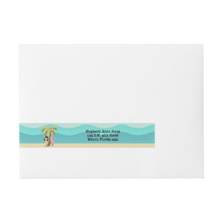 Hawaiian Surfer Girl Wraparound Address Label