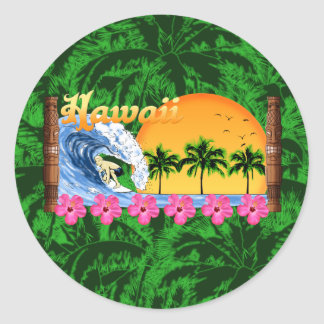 Hawaiian Surfing Round Sticker