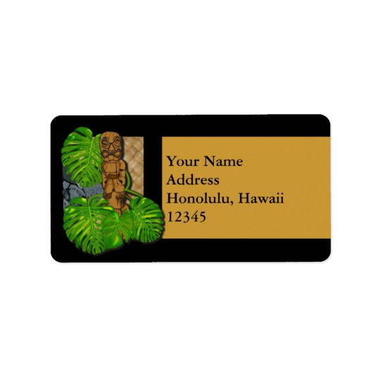 Hawaiian Tiki Lauhala Label Address Label