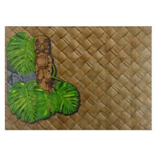 Hawaiian Tiki Lauhala Print Glass Cutting Board