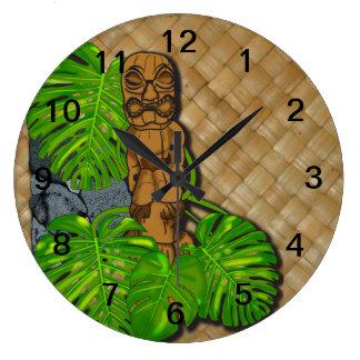 Hawaiian Tiki Lauhala Wall Clock