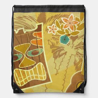 Hawaiian Tiki Mask Drawstring Bags