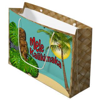 Hawaiian Tiki Mele Kalikimaka Christmas Day Large Large Gift Bag