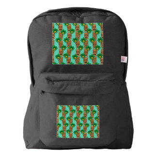 Hawaiian Tiki Repeat Pattern Backpack