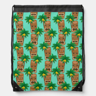 Hawaiian Tiki Repeat Pattern Drawstring Bag