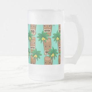 Hawaiian Tiki Repeat Pattern Frosted Glass Beer Mug