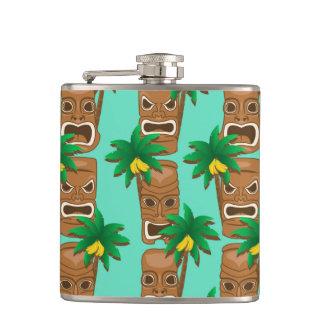 Hawaiian Tiki Repeat Pattern Hip Flask