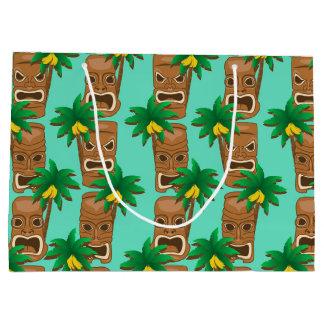 Hawaiian Tiki Repeat Pattern Large Gift Bag