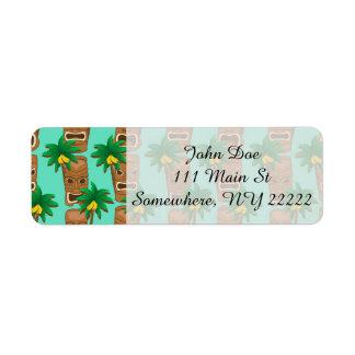 Hawaiian Tiki Repeat Pattern Return Address Label
