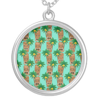 Hawaiian Tiki Repeat Pattern Silver Plated Necklace