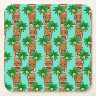 Hawaiian Tiki Repeat Pattern Square Paper Coaster