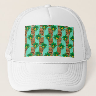 Hawaiian Tiki Repeat Pattern Trucker Hat