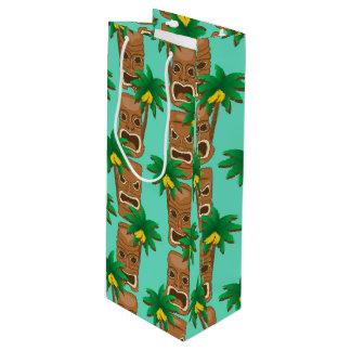 Hawaiian Tiki Repeat Pattern Wine Gift Bag