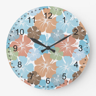 Hawaiian Tropical Hibiscus Flowers Large Clock