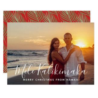 Hawaiian Tropical Holiday Palm Christmas Photo Card
