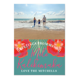 Hawaiian Tropical Island Holiday Hibiscus Palm Card