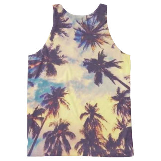 HAWAIIAN TROPICAL PALM TREE ART All-Over PRINT SINGLET